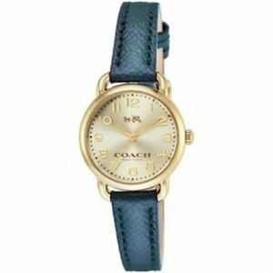 Coach Delancey Metallic Blue Leather Watch